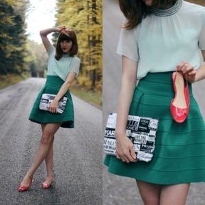 H&M Teal High Waist Textured Fit & Flare Skirt